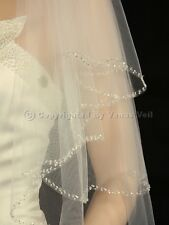 2T Ivory Bridal Elbow Length Scalloped Beaded Edge Wedding Veil