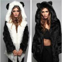 Womens Wolf Ears Hooded Cartoon Fur Coat Parka Warm Winter Jacket Plush Overcoat
