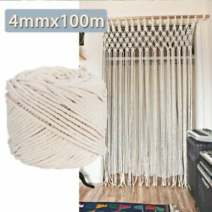 Natural Beige Macrame Rope Twisted Cotton Cord String For DIY Gift Accessories