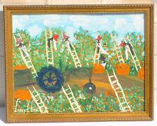Ernest Chicken Man Lee African American Folk Art Fruit Pickers Original Painting