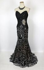 New TONY BOWLS Authentic 11249 Black Strapless Sequins Prom Evening Dress 2