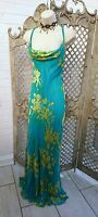 🌹MONSOON🌹SHEER TURQUOISE FLORAL SILK STRAPPY COWL MAXI COCKTAIL DRESS 14 PARTY