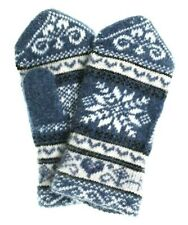 Women's Knit Wool Blend Mittens with White Snowflake Pattern, Blue (US 7 / RU18)