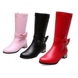 Fashion Women Bow Knot Side Zip Crystal Bow Mid Calf Boots Casual Simple Shoes