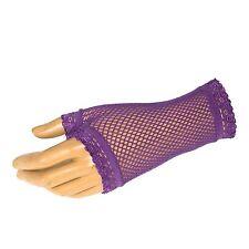 Short Black Ladies Fishnet Fingerless Gloves Fancy Dress Party Gloves