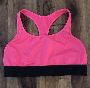 Victoria's Secret Victoria Sport Hot Pink & Black Sports Bra Sz XL