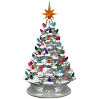 """15"""" Prelit Hand-Painted Ceramic Christmas Tree Tabletop Decor Battery Silver"""