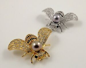 Seashell Pearl Rhinestone Studded Bumble Bee Brooch Pin Silver or Gold-plated