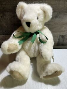 """Vermont Teddy Bear Jointed White + Green Bow Handmade 16"""" 1992 NEW w/ Tags L@@K!"""