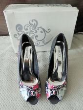 Chaussures à talon PIN UP, motif femme, roses et strass
