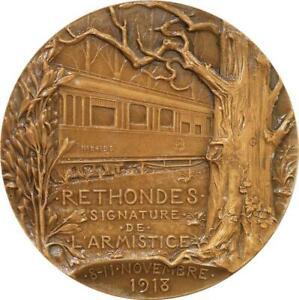 R2044 Rare Médaille Foch Marechal Armistice Rethondes WWI 1918 Prudhomme SUP