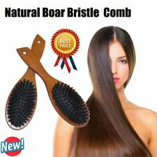 Natural Boar Bristle Hair Brush Comb Oval Anti-static Paddle Scalp Massage SALE