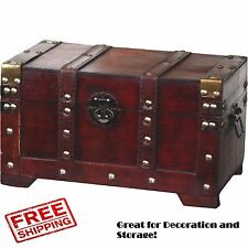 Wooden Trunk Chest Antique Small Steamer Wooden Vintage Box Storage Decorative