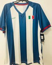 Mitre Elite Proflow Italia Soccer Mens Jersey White/Blue Stripe - L -Brand New