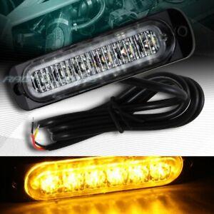 6 LED AMBER CAR EMERGENCY BEACON HAZARD WARNING FLASH STROBE LIGHT BAR UNIVERSAL