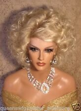 Drag Queen Wig Medium Length with Light Blonde to Lighter Tips Layers Bangs
