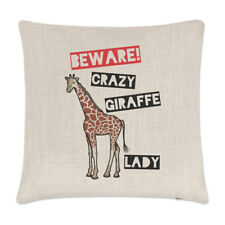 Tenga cuidado con Crazy Jirafa Dama Lino Cubierta para Cojín Almohada-Divertido Zoológico Safari