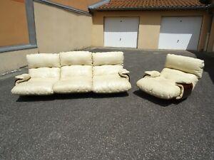 Canapé et fauteuil cuir blanc design Michel Ducaroy Ligne Roset modèle Marsala