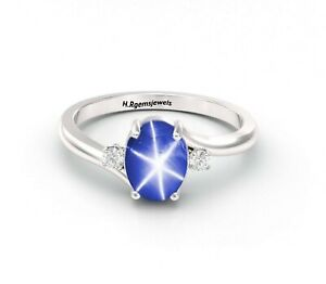 Genuine Lindy Star Sapphire Ring 925 Sterling Silver Blue Star Sapphire Ring