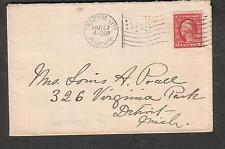1916 cover Traverse City MI flag cancel to Detroit MI