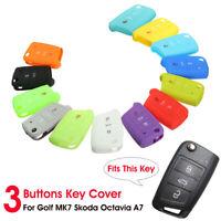 3 Button Silicone Remote Key Case Cover Fob For VW Golf 7 Mk7 Skoda Octavia Seat