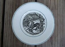 DIGOIN SARREGUEMINES Plate The Wolf Trap Hunt Scene Black Transfer 7-1/8 France