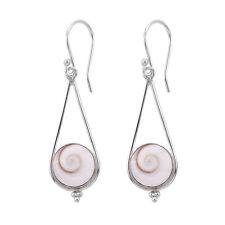 2a84b29d8 SHIVA EYE SHELL Dangle Earrings in 925 Sterling Silver - 4.4 CM #N45