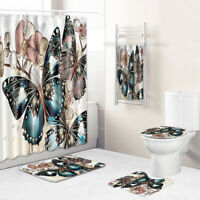 Butterfly Bathroom Rug Set Shower Curtain Bath Towel Bath Mat Toilet Lid Cover