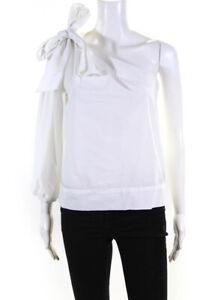 Ulla Johnson Womens Long Sleeve One Shoulder Blouse White Cotton Size 2