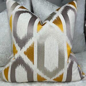 Cushion Cover John Lewis &Partners Fabric Juana Geometric Embroidery SAFFRON