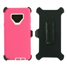 For Samsung Galaxy Note 9 Case Cover W/Clip Fit Otterbox Defender Pink White