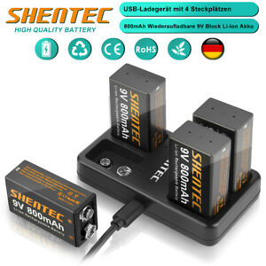 9V Block PP3 Lthium Li-ion Wiederaufladbare Akku & 4 Slot USB Batterie Ladegerät