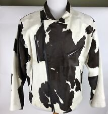 Saddle Rock Ranch Mens Motorcycle Style Cow Hide Hair Leather Jacket Size Large