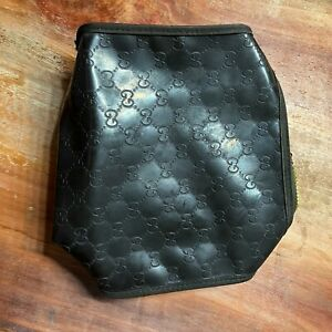 Gucci Parfums Brown Logo Rubber Vinyl Make Up Cosmetic Toiletry Zip Bag Vtg B3-9