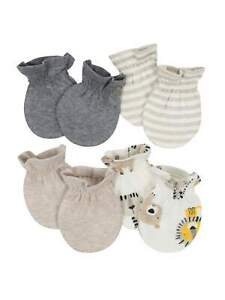 Gerber Baby Boys 4 Pack Organic Cotton Mittens Size 0-3 Months NEW Safari Cute