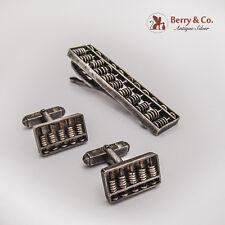 Abacus Cufflinks Tie Bar Set Japanese 950 Sterling Silver 1955