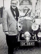 IAN FLEMING w/ 4.5 litre Bentley B&W photo James Bond author 007 spy novels UK