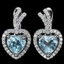 Ohrringe Herzschliff Blautopas Sky Blue & CZ 925 Silber 585 Weißgold vergoldet