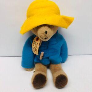 "Vintage Paddington Bear Plush Teddy Yellow Hat Blue Coat Eden Toys 14"" 1970s"