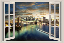 New York Lights Window View Repositionable Color Wall Sticker Wall Mural 36x24