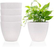 6 Inch Plastic Planters Indoor Flower Plant Pots, Set of 5 Modern Decorative