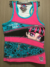 BNWT Girls Sz 10 Pretty Pink/Aqua Monster High Print Racer Back Singlet Top