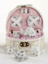 Delton Pink Butterfly Children's Tea Set Party Teaset with White Basket