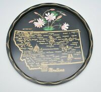 Vintage Nashco Products Hand Painted Montana State Platter Plate Serving