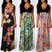 Women's Boho Floral Long Maxi Dress Summer Beach Evening Party Cocktail Sundress