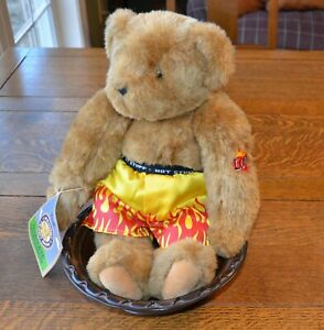 AUTHENTIC VERMONT TEDDY BEAR - HOT STUFF - BOXERS & TATTOO,  STUFFED PLUSH - NEW