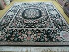 8' X10'  Hand Made Chinese Floral Oriental Wool Rug Carpet Flower Bouquet Black