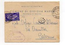 STORIA POSTALE 1951 REPUBBLICA BIGLIETTO POSTALE DA GIOIOSA MAREA 14/6 D/8558