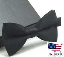 New Tuxedo PreTied Black Bow Tie Satin Matching Adjustable Band Classic USA