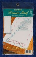 """Stamped Embroidery Rose Hearts Dresser Scarf Rose 14"""" x 39"""" Runner Easy"""